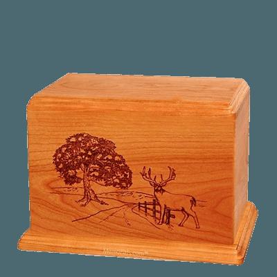 Whitetail Individual Mahogany Wood Urn