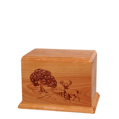 Whitetail Small Cherry Wood Urn