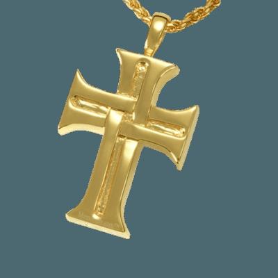 Woven Cross Cremation Pendant IV