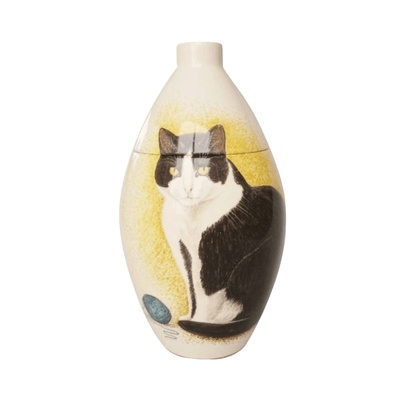 Black & White Cat Small Cremation Urn