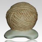 Yarn Ball Cream Cremation Urn