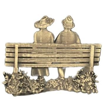 Antique Gold Bench Couple Emblem