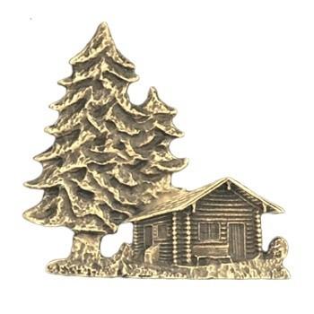 Antique Gold Wood Cabin Emblem