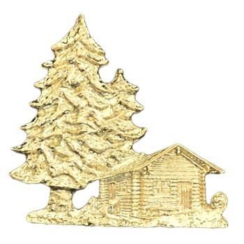 Gold Wood Cabin Emblem