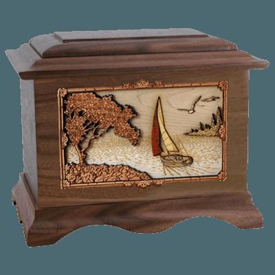 Sailboat Walnut Cremation Urn