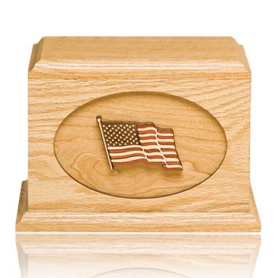 US Flag Oak Military Cremation Urn