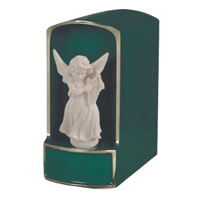 Angel with Harp Bronze Cremation Urn