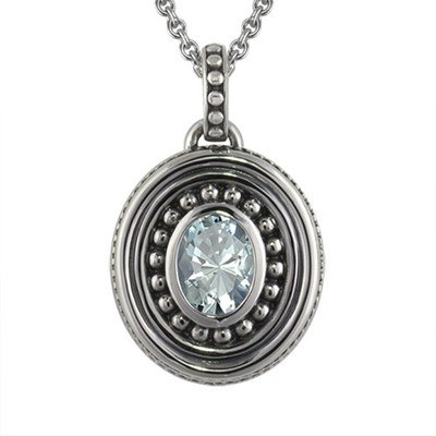 Aquamarine Bead Cremation Pendant