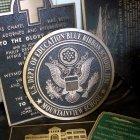 Bronze Plaque with 2 Ceramic Pictures