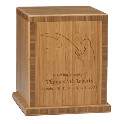 Fisherman Bamboo Caramel Cremation Urn