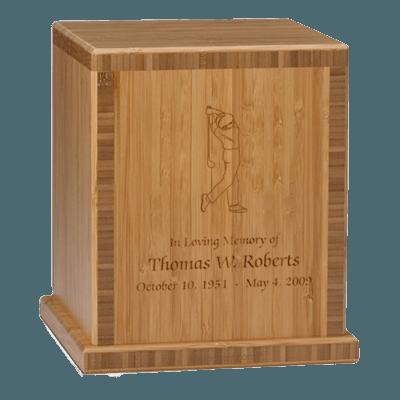 Man Golfer Bamboo Caramel Cremation Urn
