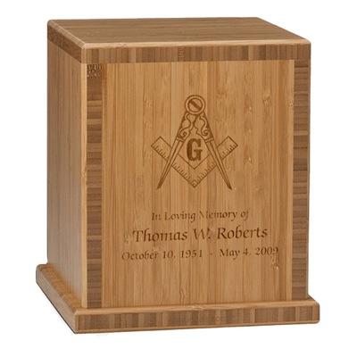 Mason Bamboo Caramel Cremation Urn