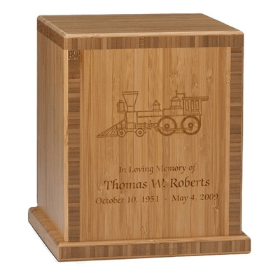 Train Bamboo Caramel Cremation Urn