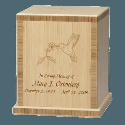 Hummingbird Bamboo Natural Cremation Urn