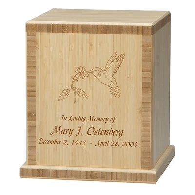 Hummingbird Bamboo Natural Cremation Urn