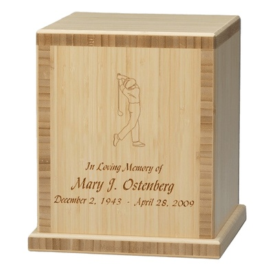 Man Golfer Bamboo Natural Cremation Urn