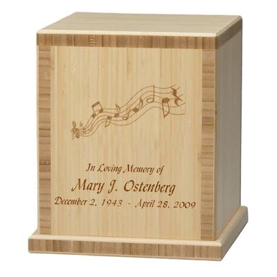 Music Notes Bamboo Natural Cremation Urn