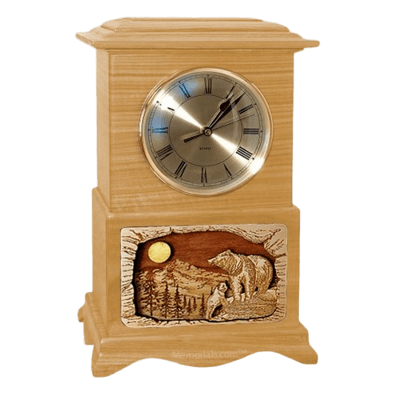 Bear Clock Oak Cremation Urn