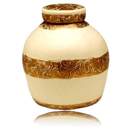 Golden Embossed Biodegradable Urn