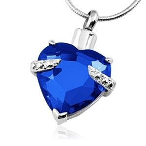 Blue Heart Necklace For Ashes