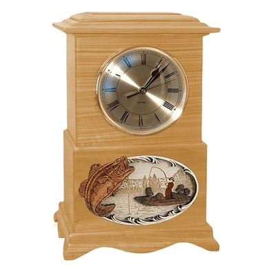 Boatfishing Clock Oak Cremation Urn