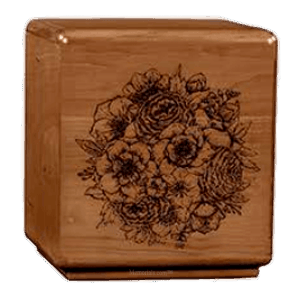 Solemn Bouquet Wood Cremation Urn