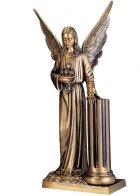 Angel with Column Bronze Statues