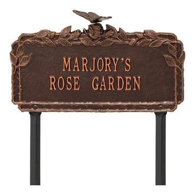 Butterfly Rose Copper Dedication Plaque