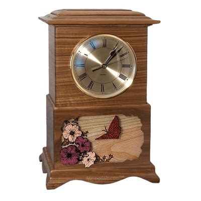 Butterfly Clock Walnut Cremation Urn
