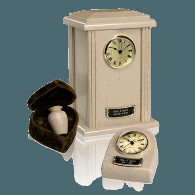 Marble Clock Cream Cremation Urns