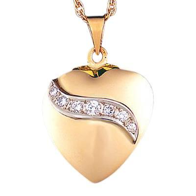 Diamond Ribbon Heart Keepsake Pendant