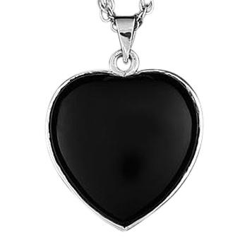 Sterling Silver Onyx Heart Keepsake Jewelry
