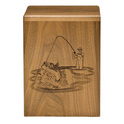 Fishing Sportsman Walnut Cremation Urn