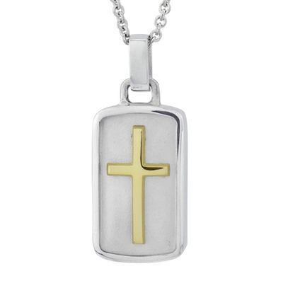Cross Tag Gold Cremation Pendant
