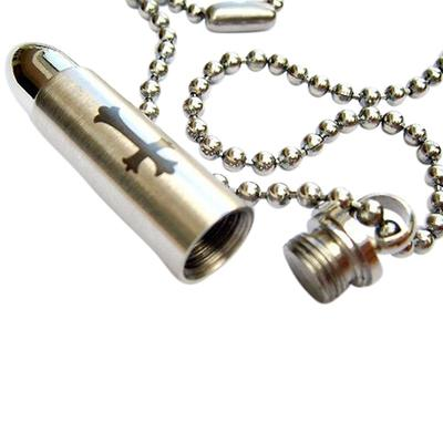 Cross Bullet Cremation Necklace