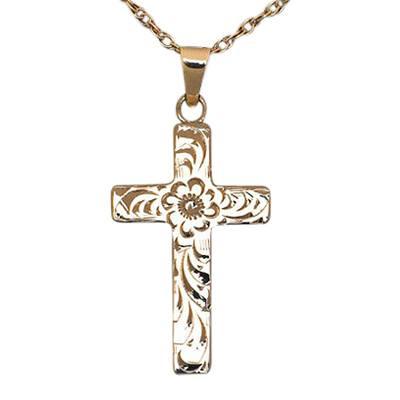 Floral Cross Gold Keepsake Jewelry