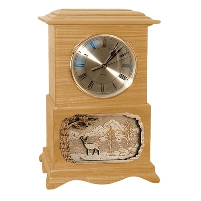 Deer Clock Oak Cremation Urn