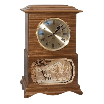 Deer Clock Walnut Cremation Urn