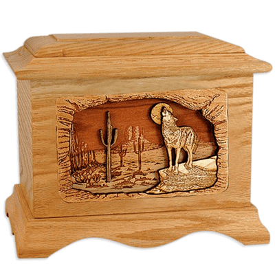 Desert Moon Oak Cremation Urn For Two