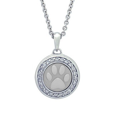 Diamond Paw Sterling Cremation Pendant
