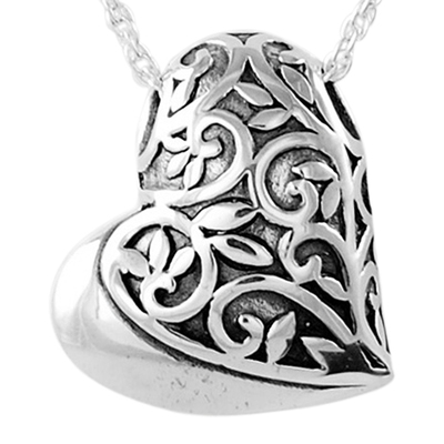 Filigree Sideways Heart Keepsake Pendant
