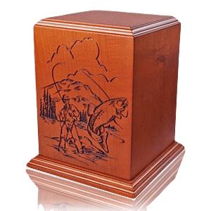 Fishermans Paradise Wood Cremation Urn