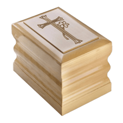 Flower Cross Wood Cremation Urn