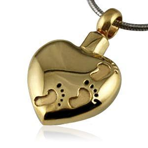 Golden Footprints Cremation Necklace
