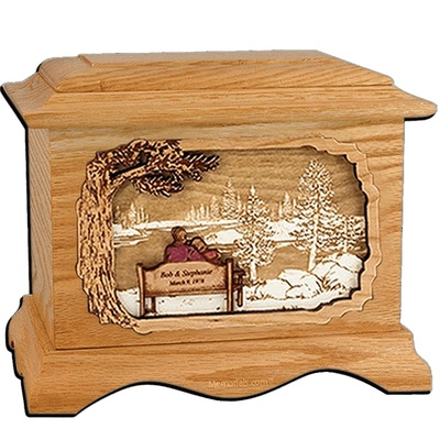 Forever Yours Oak Cremation Urn for Two