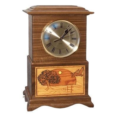 Geese Clock Walnut Cremation Urn