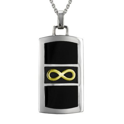 Gold Infinity Black Cremation Pendant