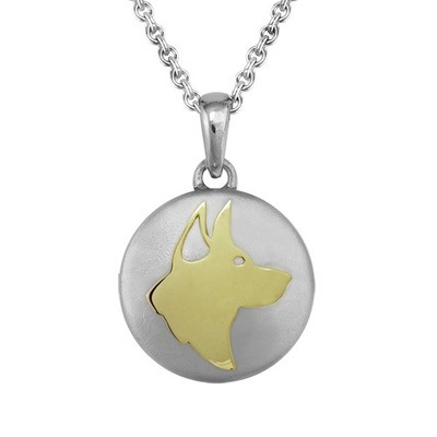 German Shepherd Gold Cremation Pendant