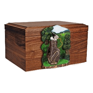 Golfbag Figurine Wood Cremation Urn