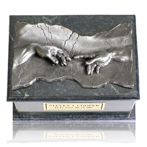 Close to God Green & Silver Cremation Urn